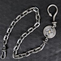 "ウエストライド シルバーウォレットチェーン WESTRIDE:SILVER LINE SUPPORTED by LARRY SMITH  ""SLINGSHOT SWASTIKA WALLET CHAIN"" [K18 M size] 752988"