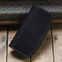 "BY KING * バイキング * ロングウォレット""LEIF"" *ALL HANDMADE * 栃木レザー [BLACK] BK1003"