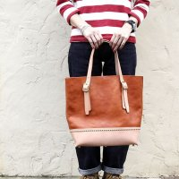バイキング レザートートバッグ BIKING LEATHER TOTE BAG -MARTHUR- [RED CAMEL×NATURAL]