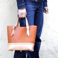 バイキング レザートートバッグ BIKING LEATHER TOTE BAG -MARTHUR-small [RED CAMEL×NATURAL]