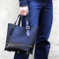 バイキング レザートートバッグ BIKING LEATHER TOTE BAG -MARTHUR-small [BLACKL×BLACK]