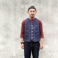 ダッパーズ Dapper's  CLASSIC RAILROADER WORK VEST [INDIGO ROPE WABASH STRIPE] LOT1343 ●モデル:177cm 80kg サイズ42(XL)着用