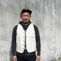ダッパーズ Dapper's STANDARD RAILROADER WORK VEST [OFF WHITEROPE WABASH ] LOT1379 ●モデル:177cm 80kg サイズ42(XL)着用